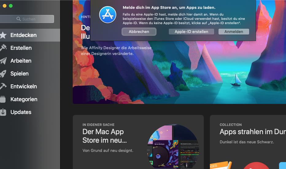 kann mich nicht im app store anmelden mac