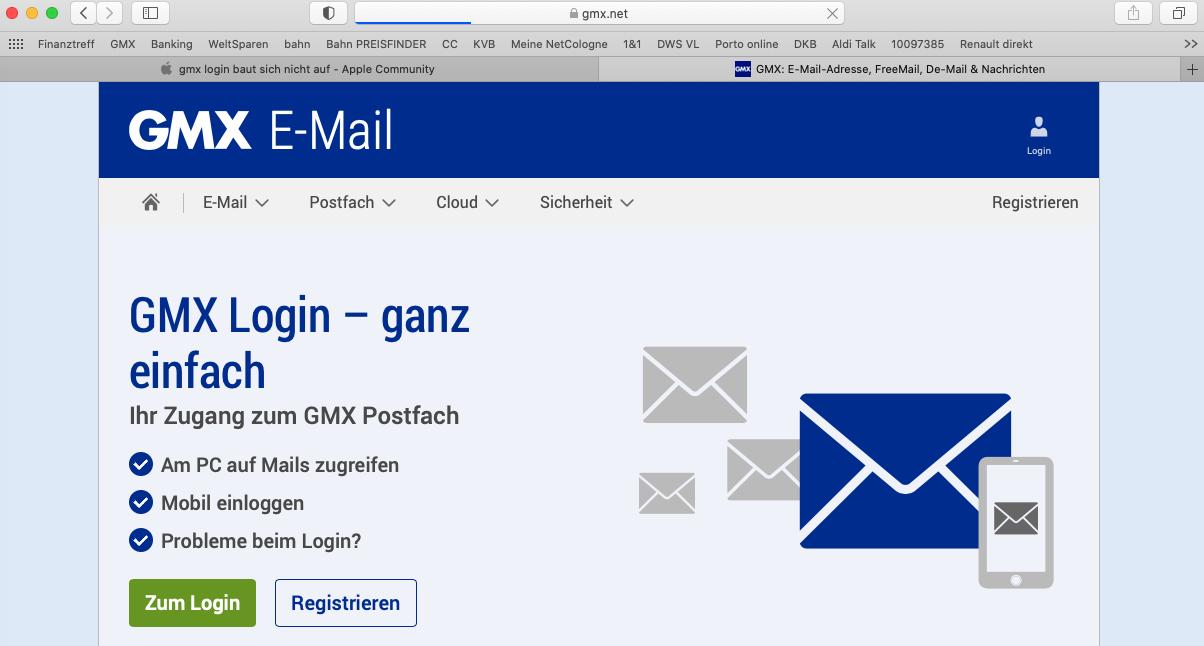 gmx login baut sich nicht auf - Apple Community