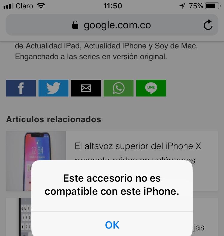 d809e55e2ad Este accesorio no es compatible con el… - Comunidad de Apple