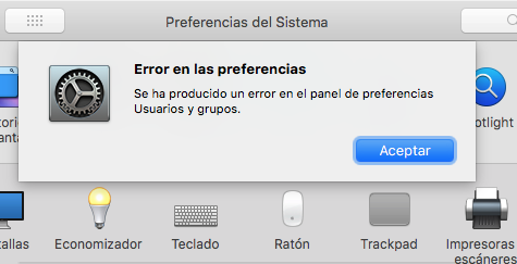 error preferencias del sistema mac