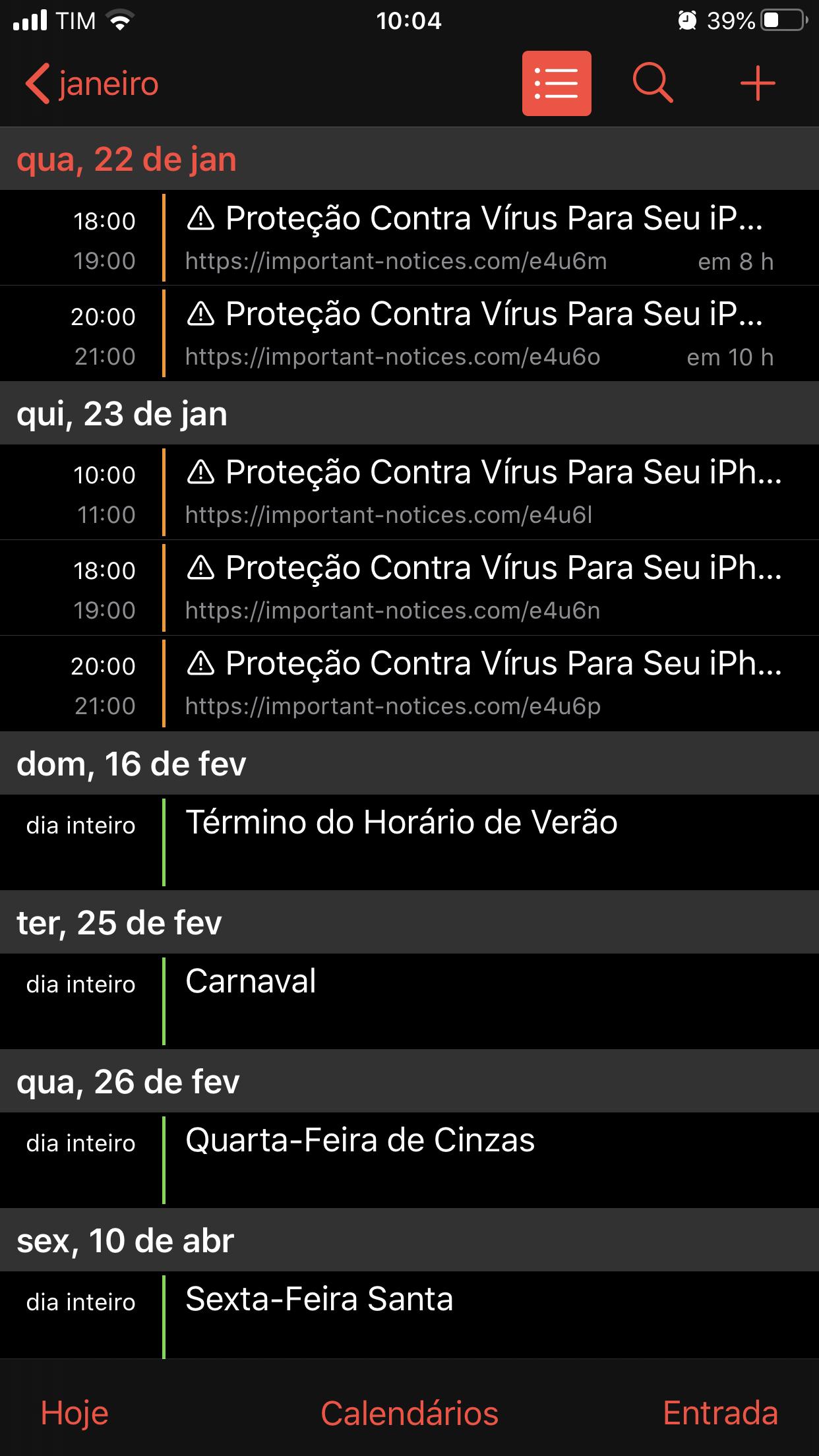 Vírus calendário - iPhone consta que… - Comunidade da Apple